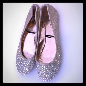 Gold flats with Rhinestones size 6